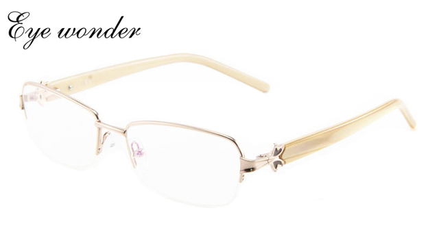 Women Classical Oval Metal Glasses Optical Frames With Stones Eye Wonder Gafas