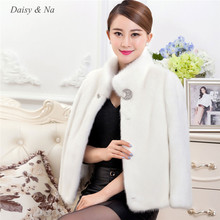 Daisy & Na Long Sleeve Slim Parka Coat Faux Mink Fur Beauty Warm Fluffy Fashion Lady 177