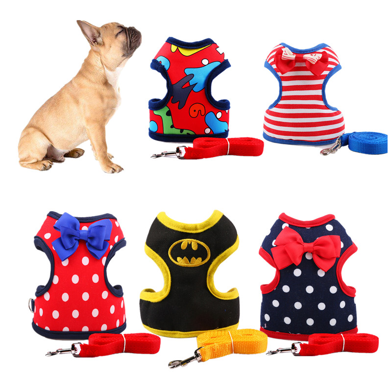 S M L Cat Small Dog Harness And Leash Set Cute Chest Strap Collar For Puppy Pet Teddy With Leash Yokie Harnesses
