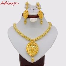 Adixyn Vintage collier/boucles doreilles parure de bijoux pour femmes couleur or/cuivre éthiopien arabe inde cadeaux de fête
