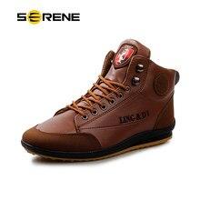 fb30d07c4 Botas de Inverno dos homens da Marca Man Unidade SERENO Sapatos Bota De  Couro Do Tornozelo