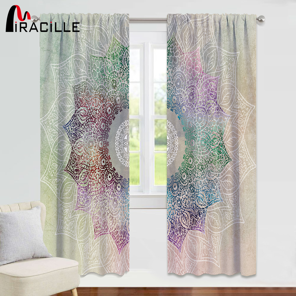 Miracille Mandala Curtains For Bedroom Light Blocking Thermal Window Treatment Drapes Living Room Girly Shading Curtain