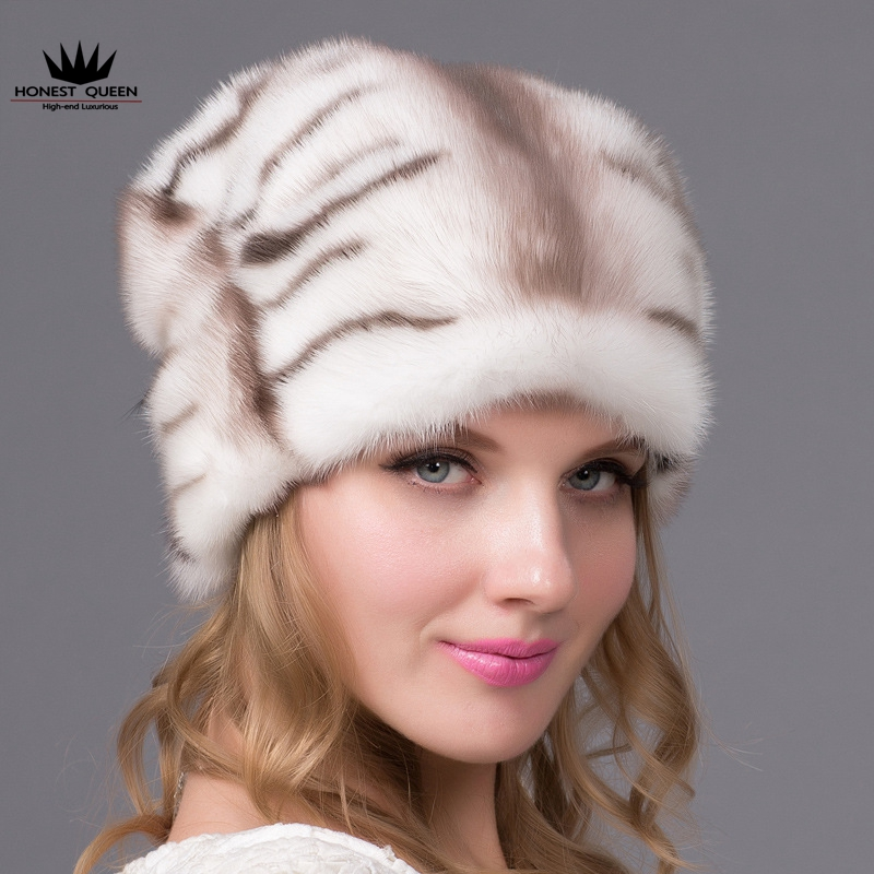 Import the whole skin water mink fur hat elegant mink and fox fur fashion ear cap bodies the whole blood pumping story