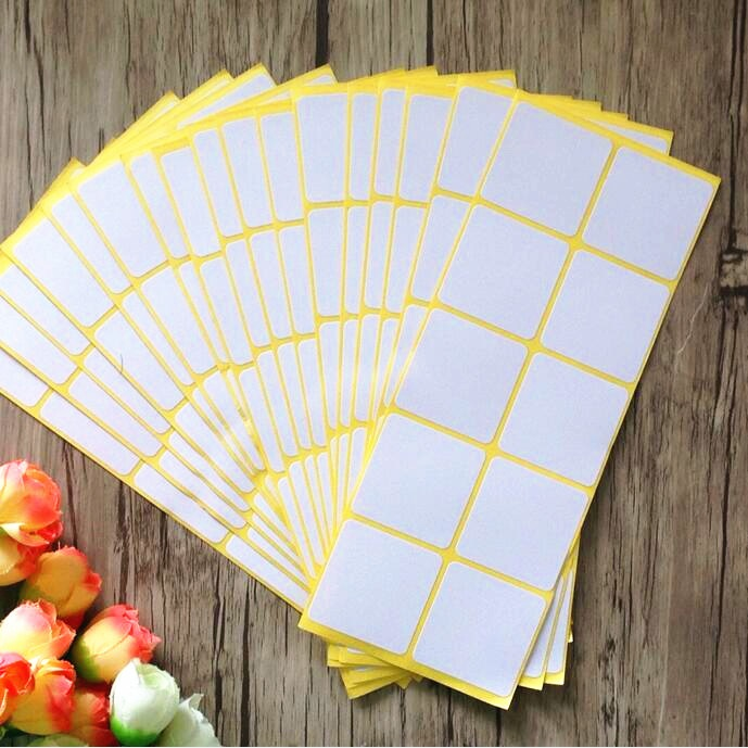 100PCS New White colour Square design kraft Blank Sealing sticker DIY gift package label paper stickers matte white a4 kraft paper self adhesive square print label stickers library book shipping labels for laser inkjet printer