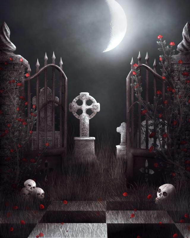 Cartoon Halloween Tombstone Castle, Fear, Horror ...  Halloween Tombstone Background