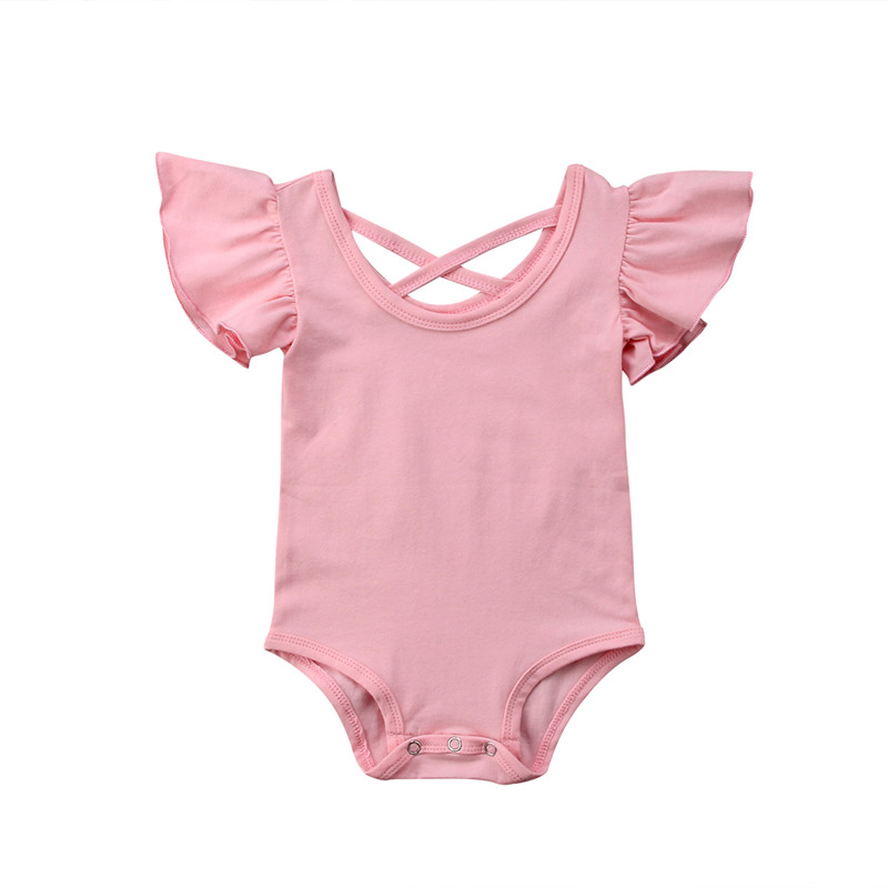 Cute Sweet Bodysuits Newborn Infant Girl Solid Short Sleeve Bodysuit Leotard Top Outfits Kids Baby Clothing