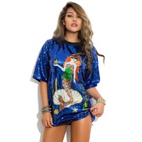 New Sexy Sequined Mermaid Shiny Women T Shirt Vestidos Overszie DJ Rock Hip Hop T Shirts Tops Tee Dacne Clothes
