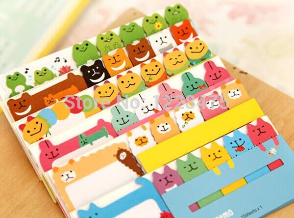 1 Pack/lot New Cute 458 Style Cartoon Notepad Animals Sticky Memo Message Post Stick Marker Removable Adhesive Paper Label