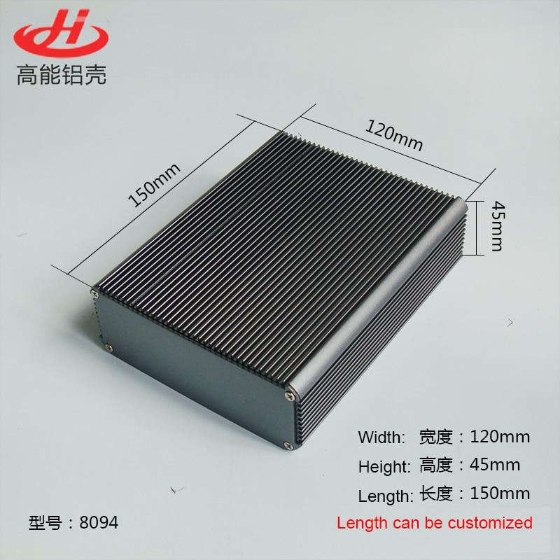 Heat sink Aluminum Enclosure Box PCB Instrument Box DIY Electronic Project Case 120mm*45mm*150mm 8094Heat sink Aluminum Enclosure Box PCB Instrument Box DIY Electronic Project Case 120mm*45mm*150mm 8094