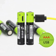 ZNTER 2pcs/lot 1.5V AAA 400mah li-polymer li-ion lithium rechargeable battery USB battery with USB charging line leory 4pcs znter aaa 1 5v 400mah usb lipo rechargeable battery ultra efficient aaa lithium polymer li ion usb charging batteries