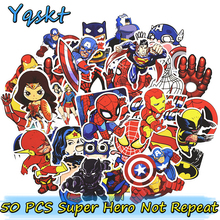 50 Unids Cool Super Hero Pegatinas para Equipaje Portátil Car Styling Skateboard Home Calcomanías Impermeable DIY Divertido Etiqueta