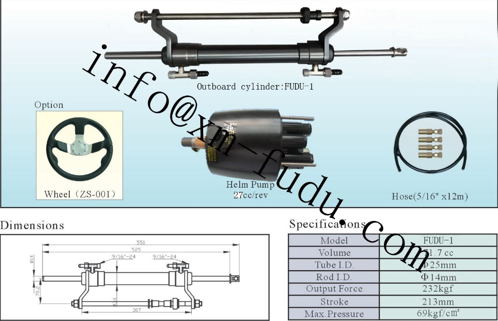 1.8 Turns For Outboard Hydraulic Steering System For Engines Till 90 HP