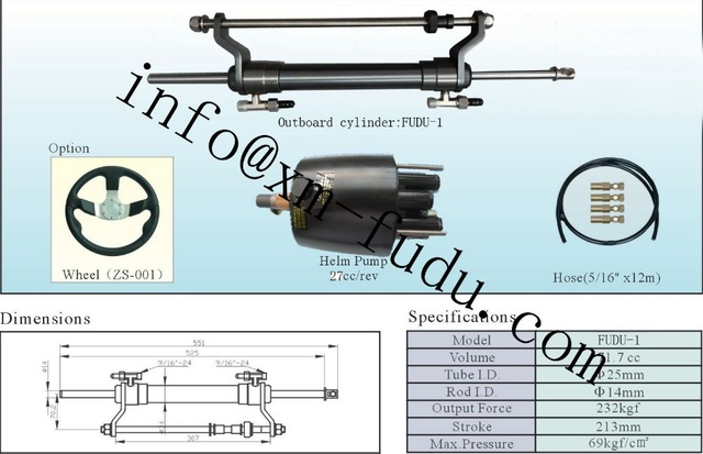 US $359 99 |1 8 Turns for Outboard Hydraulic steering system for engines  till 90 HP-in Marine Hardware from Automobiles & Motorcycles on