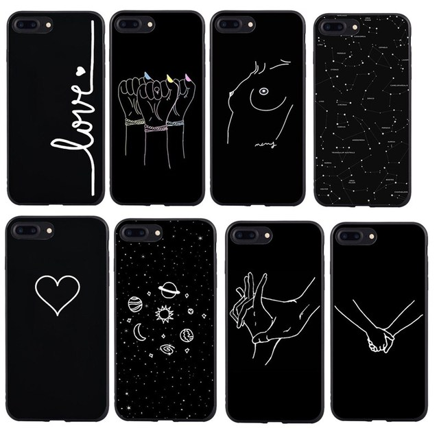 Abstract Line Face For Cover Iphone 6s 7 8 Plus Art Planet Black Lover Heart Couple Silicone Soft Capa Se 5 5s