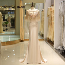 CRYSTAL JIANG 2018 Mermaid Evening Gown Scoop Collar Luxury Gold Beads Women Formal Sweep Train