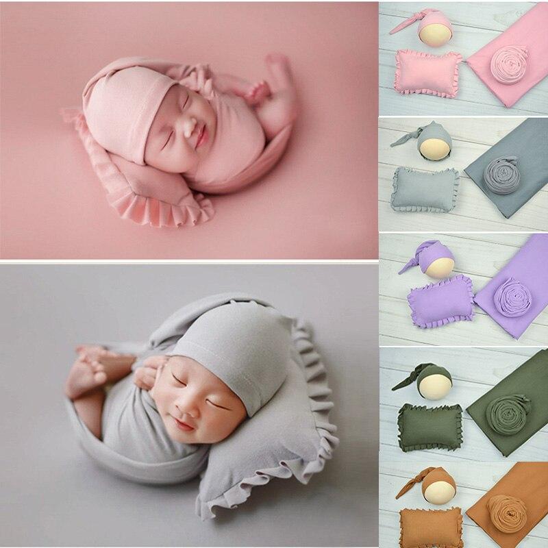 Jane Z Ann 4 pièces ensemble nouveau-né Photo accessoires bébé photographie fond tissu nouveau-né Stretch Wrap chapeau Photoshoot oreiller couverture