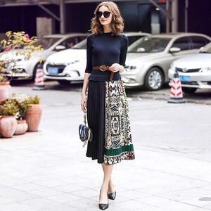 Image 2 - SEQINYY Midi Kleid 2019 Sommer Frühling Mode Design Frauen Hohe Qualität Halbe Hülse Stricken Gespleißt Drapierte Casual Kleid