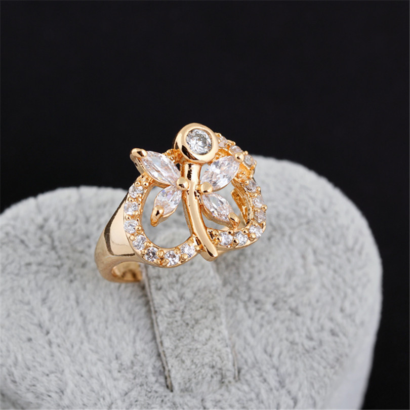 Size Wedding Rings 18K gold plating White Color Zircon