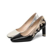 цена на 2019 Fashion brand cowhide square head ladies high heels spring summer leather color matching four seasons single shoes women