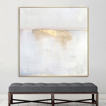 Hand painted classic personality gold white grey modern abstract oil painting for living room
