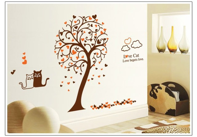 Love Cat Waterproof and Removable Vinyl Wall Sticker Home Decoration Giant Wall Decals  sc 1 st  AliExpress.com & Love Cat Waterproof and Removable Vinyl Wall Sticker Home Decoration ...