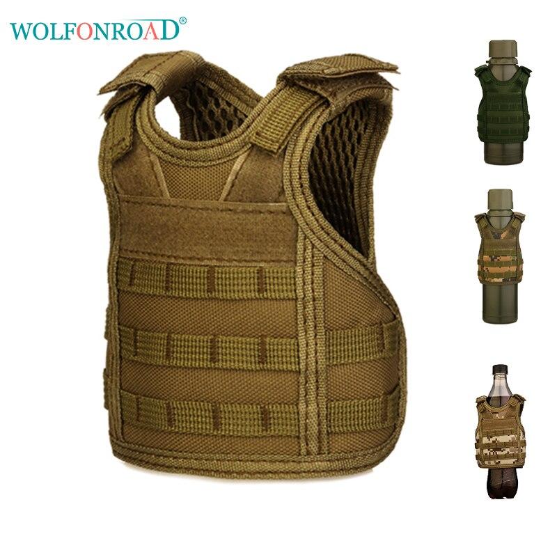 WOLFONROAD Mini ejército militar táctico Molle chaleco cervezas manga latas cubrir botellas soporte de bebidas decoración de botella L-SHZ-86