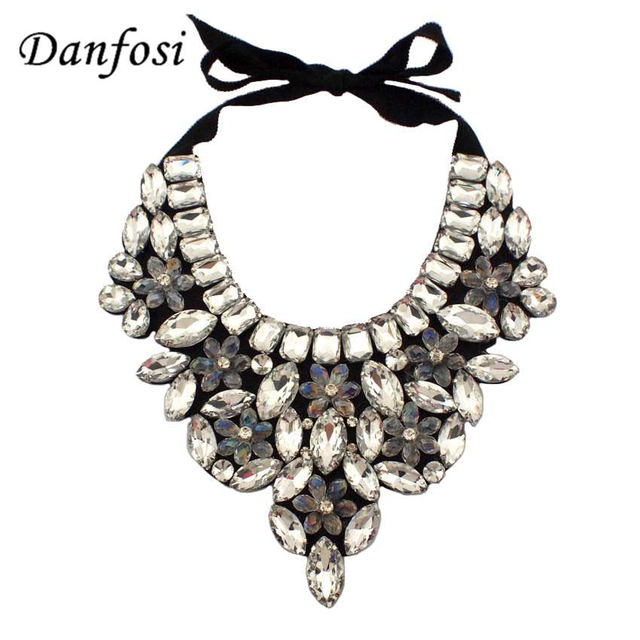 Delicate Flower Crystal Beads Collar Necklaces For Women Party Evening Dress Fashion Jewelry,Winter Clothes Accessories,N2507