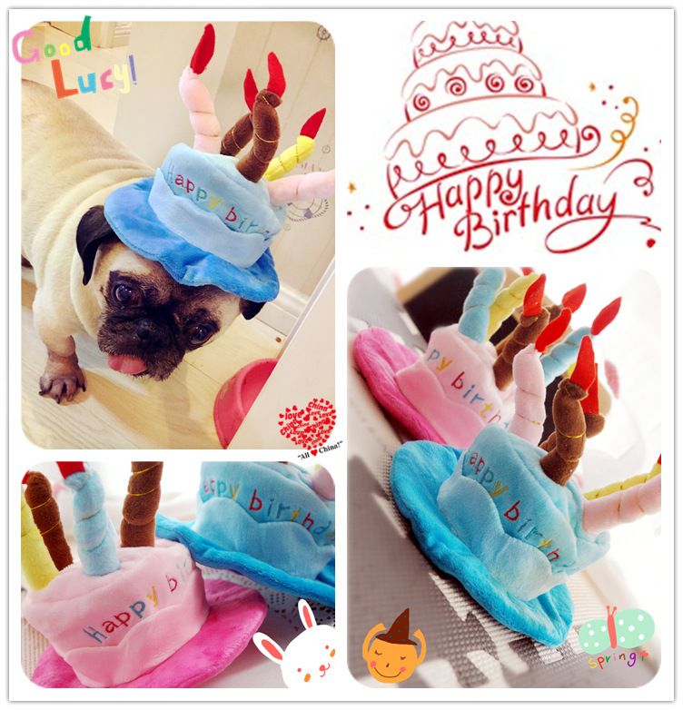 PETBEIBEI Pet HatsPet Birthday Cake Hat Funny Halloween Christmas Party High Quality Pink Blue Cat Dog Caps Supply