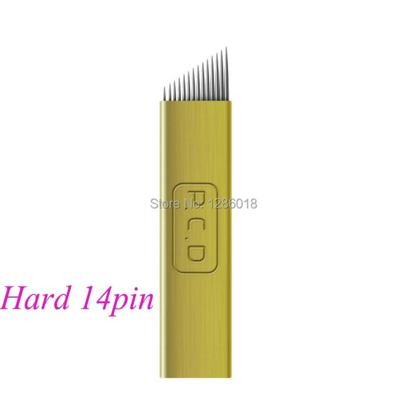 500 sztuk 12/14 pin złoty jednorazowe hafty microblade brwi do permanentnego makijażu instrukcja pióro w Igły do tatuażu od Uroda i zdrowie na  Grupa 3