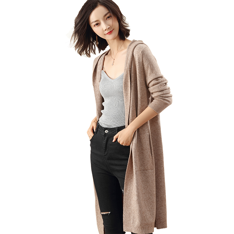 2019 Autumn And Winter New Hooded Jacket Cashmere Cardigan Sweater Women's Solid Color Coat Soft Cardigan Fashion Coat Long Sect