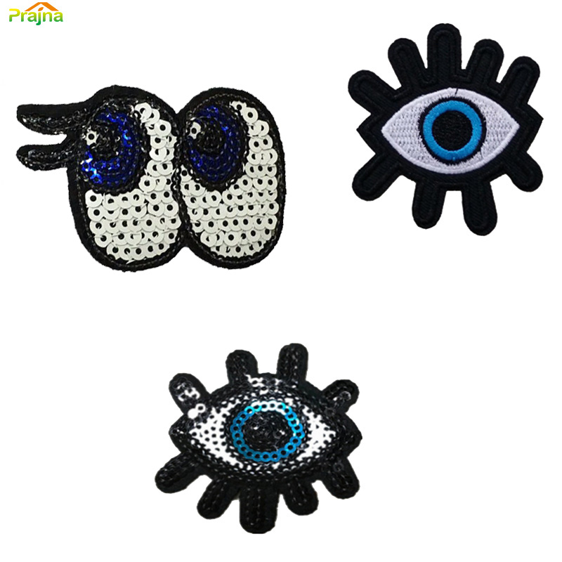Evil Eye Cartoon Iron On Hippie Patches Kids Cheap Embroidered Cute Patches For Clothes Stickers Badges