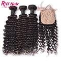 RXY 3 Bundles Deep Wave Brazilian Hair With Closure 7A Deep Wave Silk Base Closure With Hair Bundles Human Hair With Closure