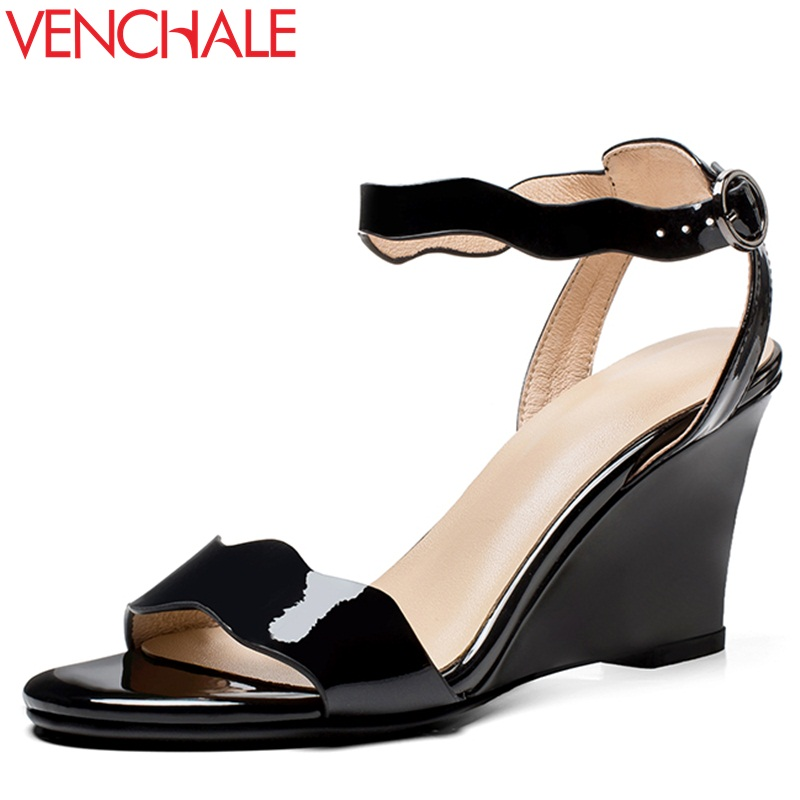 VENCHALE women shoes 2018 summer new sandals fashion heels height 8.5 cm wedges shoes two colors leisure Genuine Leather sandals venchale two heels options sheepskin