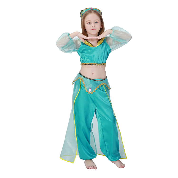 Girls Aladdin's Lamp Jasmine Princess Costumes Cosplay For Children Halloween Party Belly Dance Dress Indian Princess Costume