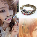 New Colorful Irregular Crystal Gold Thread Winding Hair Hoop Hairbands 7 Colors Hot Hair Accessory Jewelry