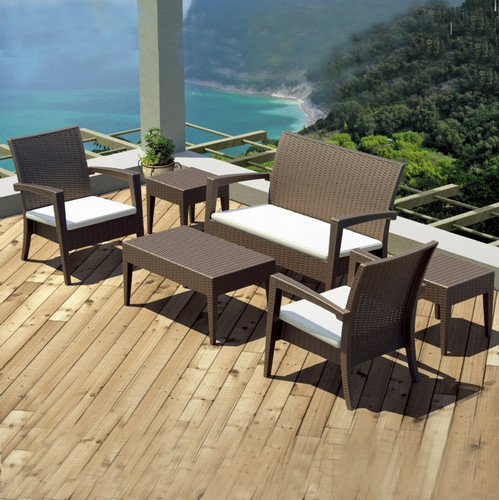 Marvelous Sigma Wicker Resin Furniture Patio Deep Seating Set 6 Piece In Brown(China) Nice Ideas