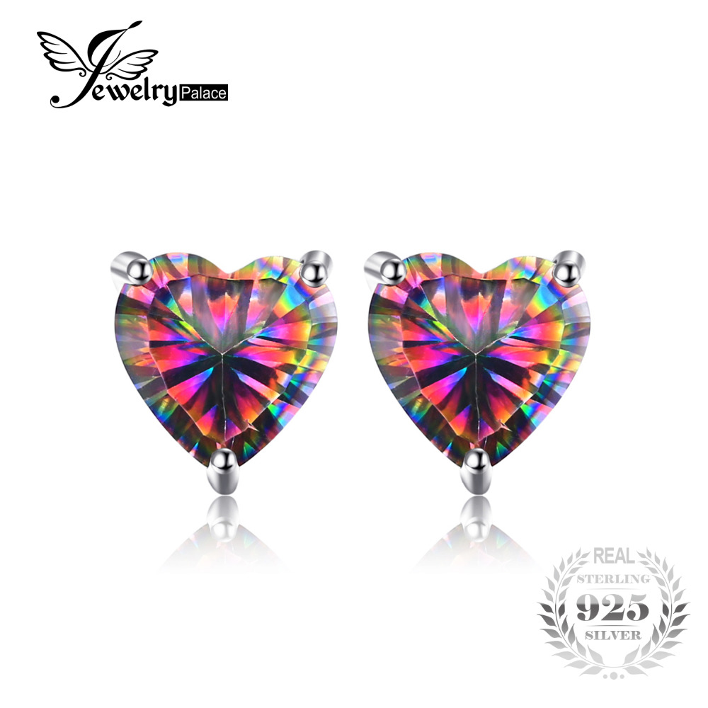 JewelryPalace Heart 3ct Natural Mystic Rainbow Topaz Stud Earrings Genuine 925 Sterling Silver Brand Fine Jewelry