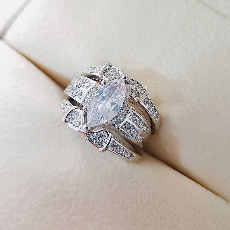 925 Sterling Silver 2020 New Luxury Marquise Wedding Ring Set For