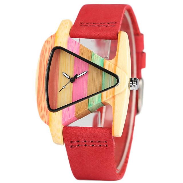 Creative Women Wood Watches Unique Colorful Wooden Triangle Hollow Quartz Wristwatch Ladies Elegant Fashion Genuine Leather Hour 1