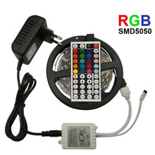 цена на LED Strip Light SMD 2835/5050 RGB Strip Ribbon Tape RGB 5050 DC 12V 5M 10M Flexible Strip Full Set DIY Controller and Adapter