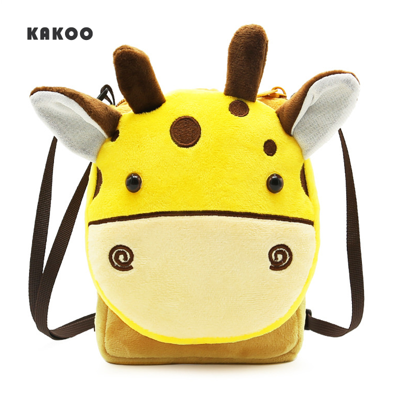 KAKOO Brand Cute Cartoon 3D animal shoulder bag Plush Kids Baby Small Coin Purses  Mini childrens messenger