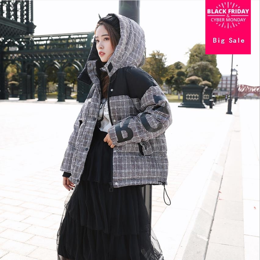 Winter new fashion brand hit color plaid 95% white duck down jacket female hooded thicker warm down coat fit -30 cold wq604