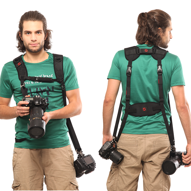 GGS Black Double Dual Camera Shoulder Strap Quick Rapid Sling Camera Belt Adjustment for Canon for 2 Cameras Digital DSLR Strap universal quick shoulder strap for slr dslr cameras grey