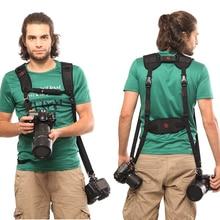 лучшая цена GGS Black Double Dual Camera Shoulder Strap Quick Rapid Sling Camera Belt Adjustment for Canon for 2 Cameras Digital DSLR Strap