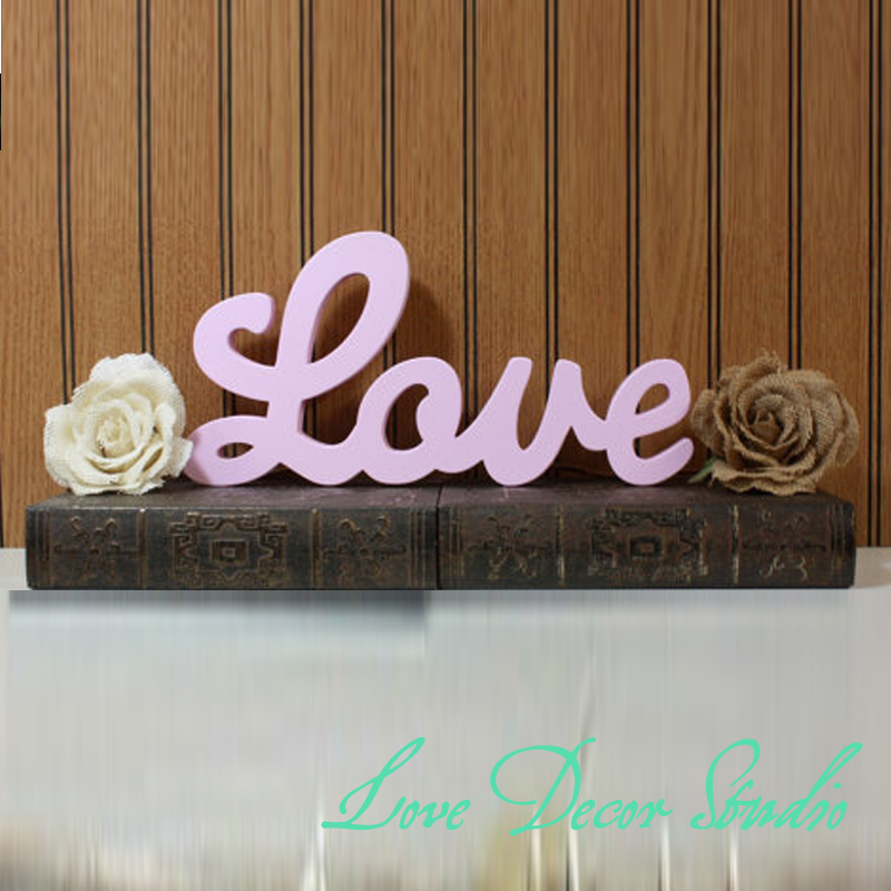 pink love sign diy wedding decoration wall hanging wooden