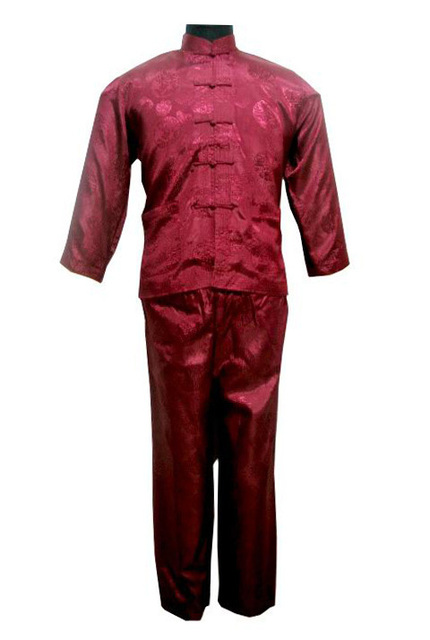 Burgundy Chinese Men's Satin Polyester Shirt Trousers Kung Fu Suit S M L XL XXL Free Shipping M3023