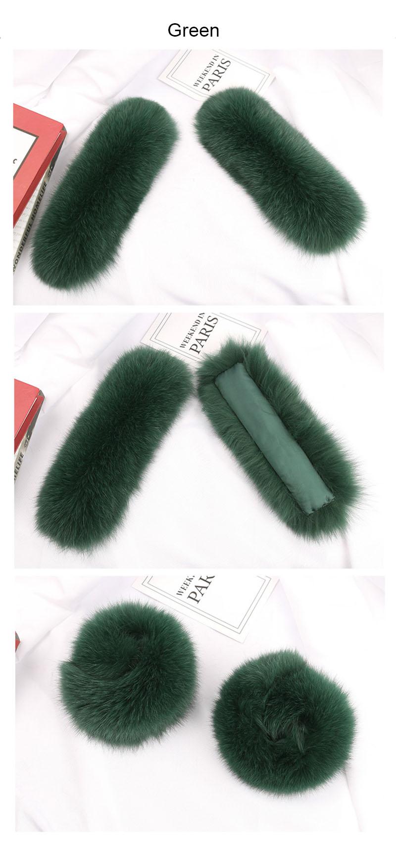 fox fur slap cuffs color green