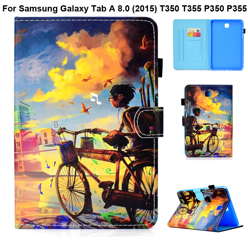 Cute Cover Nice Painting Shell For Samsung Galaxy Tab A 8.0 2015 T350 T355 P350 P355 Stand Case Taba 8 SM-T350 SM-P350 Pouch Bag