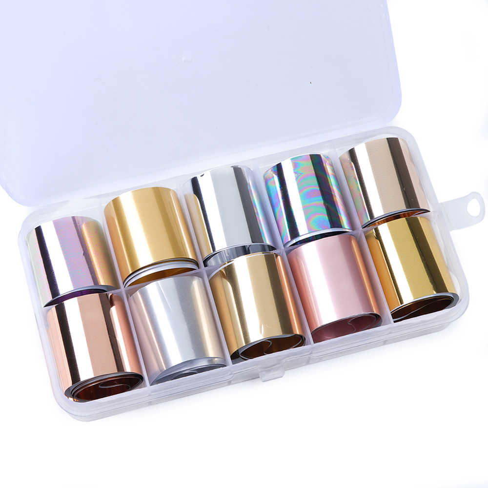 10 Roll/Box Holographic Nail Transfer Foils Matte Metallic Nails Art Stickers Decal Decoration Polish Wraps Set Manicure TR934-1