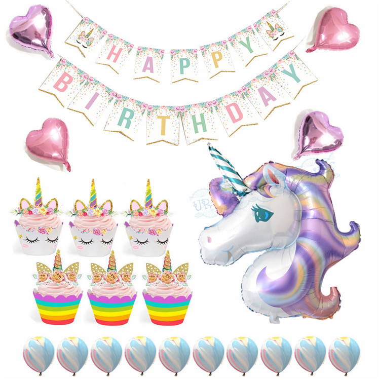 Unicorn-Party-Supplies-Set-Party-Decorations-for-Kids-Happy-Birthday-Banner-Unicorn-Agate-Heart-Balloons-Wrapper (1)